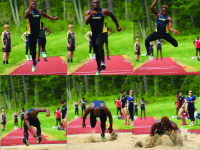 Abu Daramy '16 competes in the triple jump at the Founders League Championships.