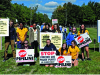 Students marched against fracking and for a healthier future.