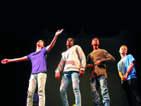 (From left to right) Jordan Eliot, Alphonso Jones, Caleb Grandoit, and Fred Hechinger performing in Katie  Cappiello's Now That We're Men.