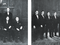 The Debate Council (left) and the Maiyeros (right) pose for a photo in the 1950 edition of The Brief, Choate's yearbook.