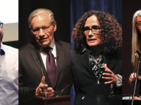 Pictured from left to right: Dr. Jordan Ellenberg, Mr. Bob Woodward, Dr. Tricia Rose, and Dame Evelyn Glennie.