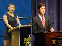 Cecilia Zhou '17, left, and Noah Hermes de Boor '18, right, demonstrating the power of good public speaking.