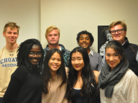Elected Sixth Form Student Council members and appointed Secretary Audrey Sze '17 (front row, second from the right) pose for a photo after their meeting.