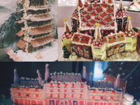 Counterclockwise from top right: Katharine Li's '17 entries to the Choate Gingerbread House Competition in 2013, 2014, and 2015.