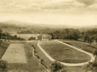 This engraving depicts the original plan for the placement of Memorial House, a mirror reflection of Hill House. It hangs on Dr. Curtis's office wall.