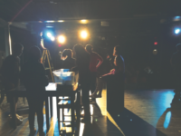 The cast of Fringe sets up props on stage during the tech rehearsal preceding the opening show. The show itself, entirely student- written, directed, and performed, was a success among audience members in all three showings.