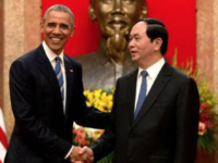 Former President of the United States Barack Obama meets with Vietnamese President Tran Dai Quang in Hanoi last fall.