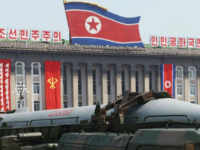 A ballistic missile is paraded through North Korea's capital, Pyongyang, as part of a military exhibition.