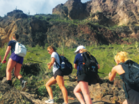 Members of the Girls' Varsity Lacrosse Team go for a team hike during  their preseason trip to Arizona.