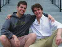 The Wachtell brothers sit on the Hill House steps.