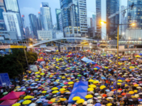 Citizens of Hong Kong  gather for the pro-democracy Umbrella Protest.