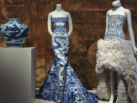 "A display of ornate dresses in the Metropolitan Museum of Art's ""China Through the Looking Glass."""
