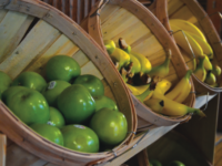 A wide array of  fresh fruit is part the dining hall's recent changes.