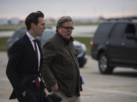 Jared Kushner and Steve Bannon walk together on December 1, 2016