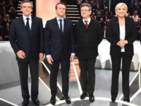 French presidential candidates stand on stage before a debate on March 20, 2017.