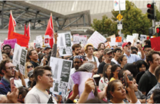 Pro-DACA protestors in Los Angeles assemble to chant and display signs on September 4, 2017.
