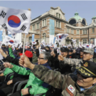 Korean War veterans gather in Seoul to protest North Korean nuclear threats in March, 2016.