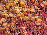 Pro-independence demonstrators march in a rally organized by the Catalan Civil Society.
