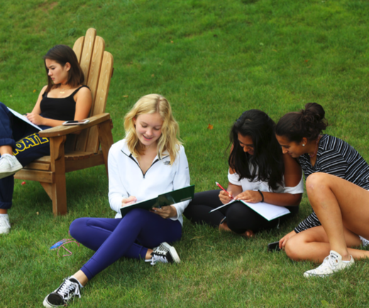 Students enjoy drawing outside during Wellness Day.