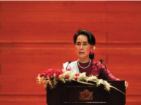 Ms. Aung San Suu Kyi gives a national address in Naypyidaw, Myanmar, on September 19.
