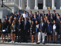 Students on the U.S. government and politics trip meet with Senator Richard Blumenthal of Connecticut.