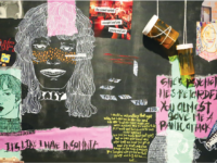The work of Choate students involved in the Arts is on display in the Paul Mellon Arts Center gallery. The image by Joey Hong '19 (above) represents misconceptions of mental health issues.