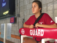 Lauren Canna '18 works at the Larry Hart Pool during a free swim.