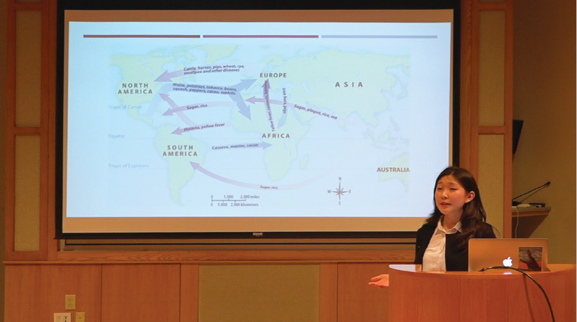 Ariel Kim '20 presents on how the Black Death helped lay the foundation for modern Europe.