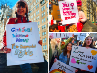 Choate students (pictured: Jade Watson '19, Leila Cohen '19, and Sarah Bonnem '19) took photos while attending Women's Marches in New York City and Hartford in support of women's equality.